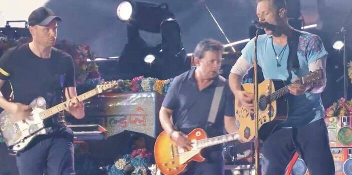 Michael J Fox joins ColdPlay on stage